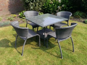 4 Seasons Outdoor Watford dining set vierkant ebony