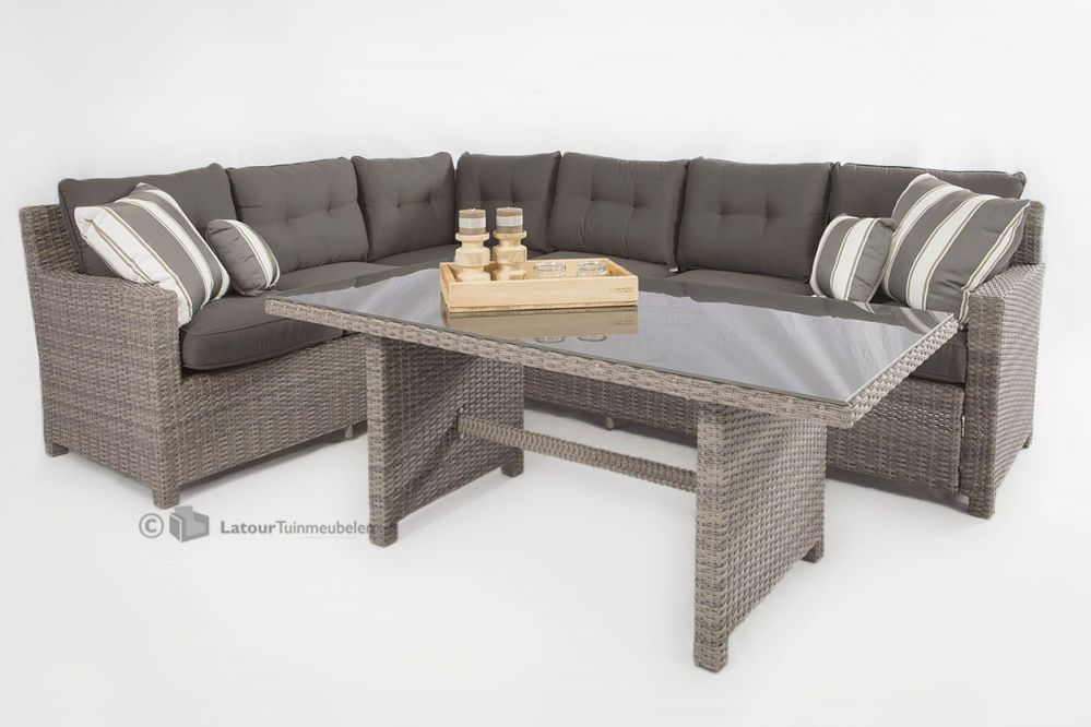 Tuinset Hoekbank Goedkoop  New york verstelbare loungeset hoekbank light kobo grey  Super