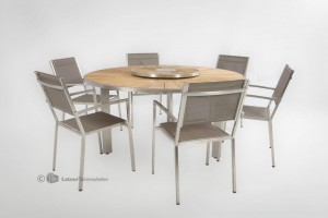 castle line tafel met 4 seasons outdoor plaza dining chair
