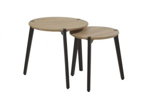 4 Seasons Outdoor Gabor round coffee table teak with aluminium legs set of 2
