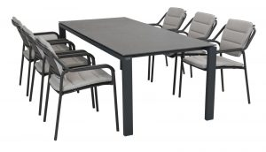 4 Seasons Outdoor Eco stackable chair with light grey cushion with Lafite floating table 220x95 matt carbon spraystone