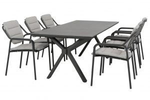 Eco stacking chair anthracite with eco cushions and Vesper table Matt Carbon spraystone