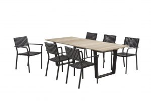 4 Seasons Outdoor piazza black pepper diningset cricket rechthoekige tafel