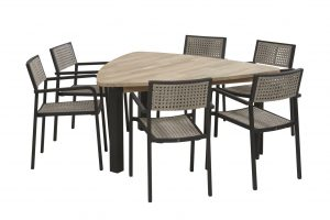 coruna dining set with derby triagle table teak top with alu legs_01