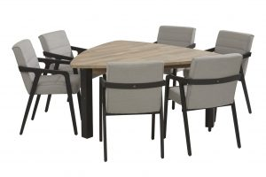 4 Seasons Outdoor aragon dining set with derby triagle table teak top with alu legs_01