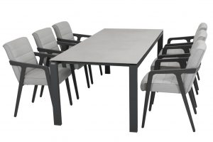 4 Seasons Outdoor Aragon dining chair with Vesper table Matt Carbon spraystone