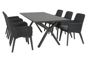 4 Seasons Outdoor Lisboa dining chair anthracite alu with Vesper table Matt Carbon spraystone