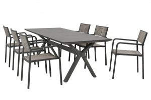 213285-90453_Coruna stacking chair with Vesper table Matt Carbon spraystone