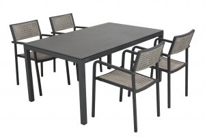 213285-90468_Coruna stacking chair with Salerno 160x95cm table matt carbon spraystone