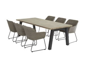 4 Seasons Outdoor Avila eetset polyloom pebble eettafel 6 tuinstoelen