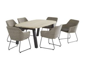 4 Seasons Outdoor Avila pebble met derby tafel 6 tuinstoelen