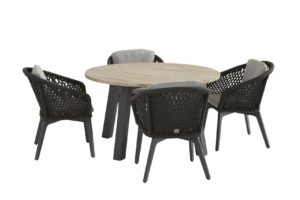 4 Seasons Outdoor Belize eetset met derby eettafel, ronde eettafel