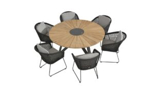 4 Seasons outdoor Mila eetset met Global teak ronde tafel eettafel 160 cm