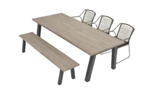 4 seasons outdoor scandic eetset met derby tafel 240 cm
