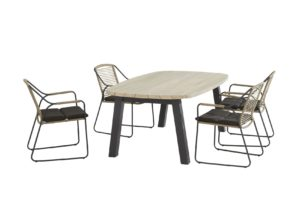 4 Seasons Outdoor Scandic eetset met ellipse tafel