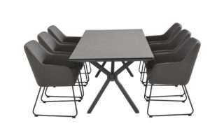 4 Seasons Outdoor Amora eetset met conrad tafel sunbrella dining chairs
