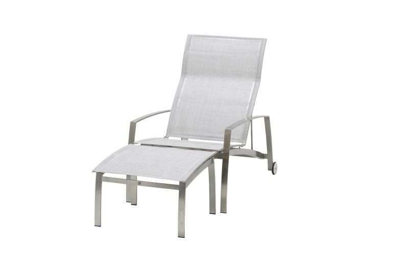 4 Seasons outdoor summit stainless steel deckchair and footstool ash grey