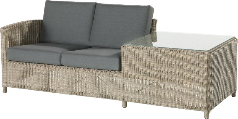 Lodge living bench 2 seater right arm with end table pure