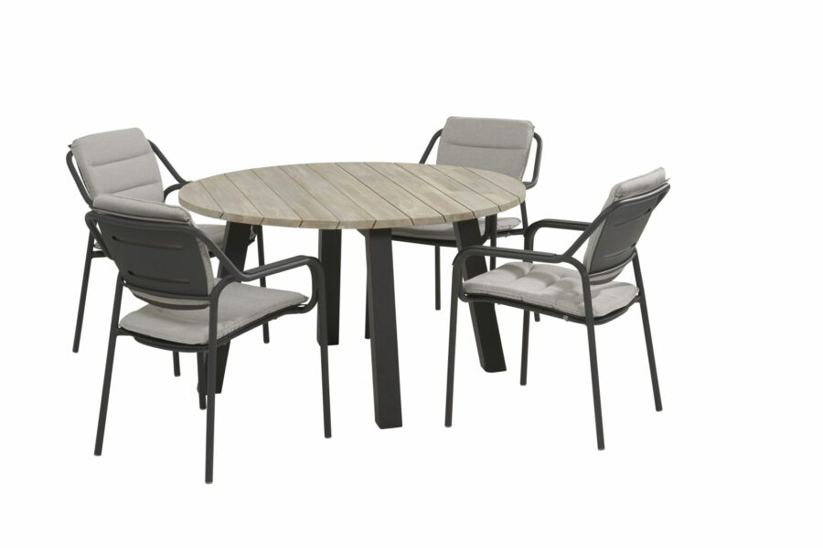 4 Seasons outdoor eco dining set with cushion and derby dining table teak top with alu legs_01