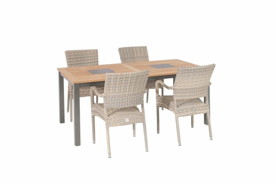 4 Seasons Outdoor Dover Lagun stapelstoelen met teak tafel