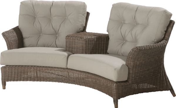 4 Seasons Outdoor Valentine loveseat met voetenbank Leaf