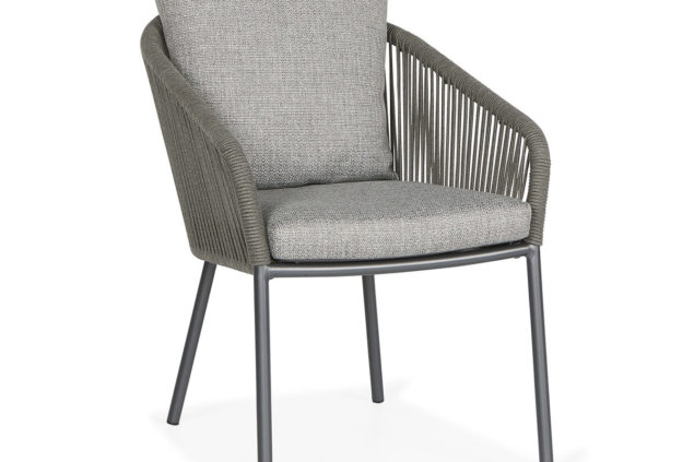 Suns Nappa dining chair fishbone weaving carbon grey
