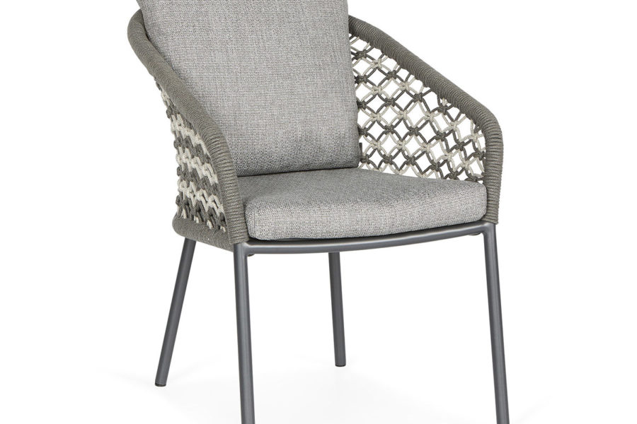 Suns Nappa dining chair macrame weaving carbongrey