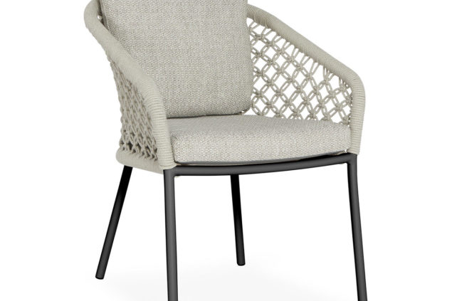 Suns Nappa dining chair macrame weaving matt royal grey -camelsand
