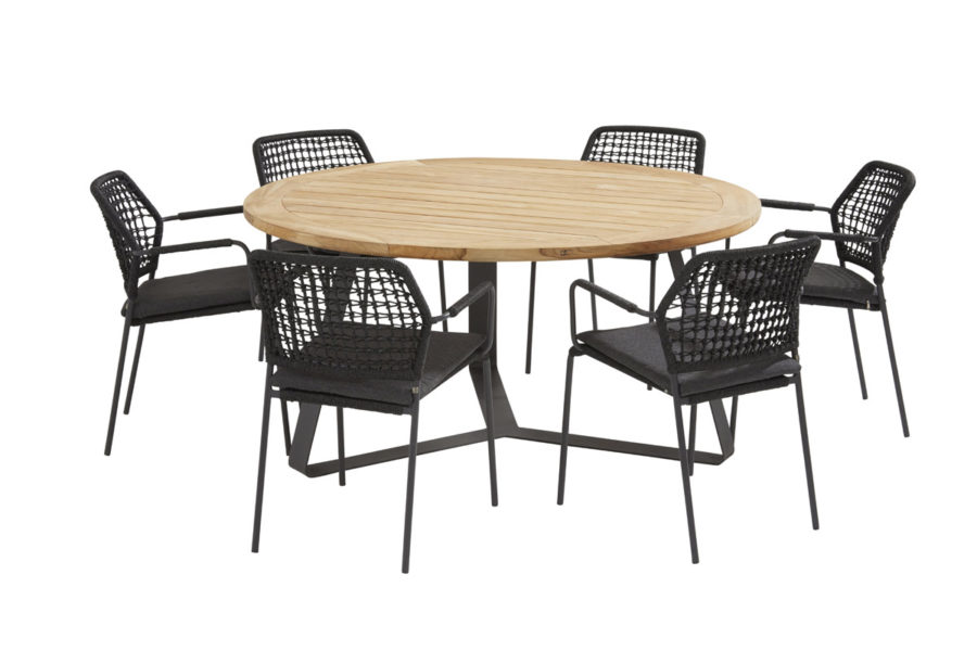 Barista antracite dining set with round Basso table Ø 160 cm