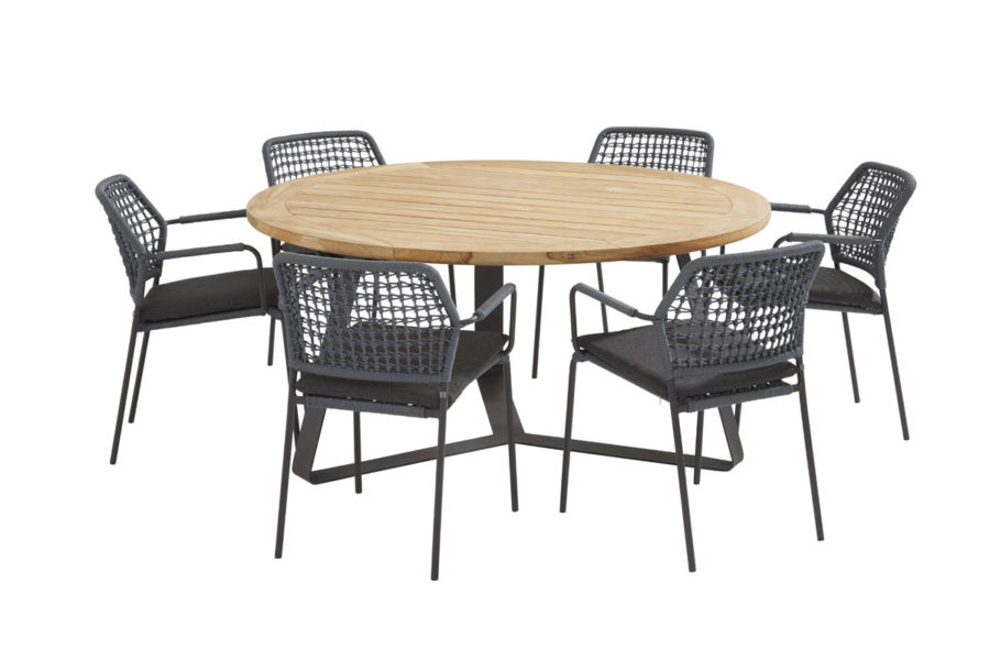 Barista blue dining set with round Basso table Ø 160 cm