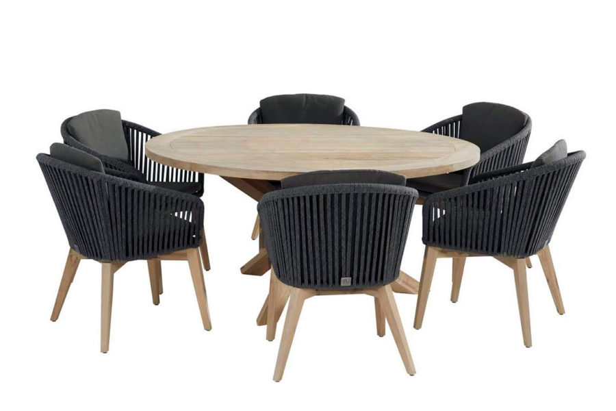 Santander dining set black with Louvre round Teak table 160 cm